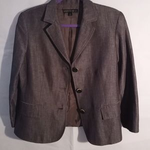 Lafayette 148 New York Virgin Wool Brown Blazer